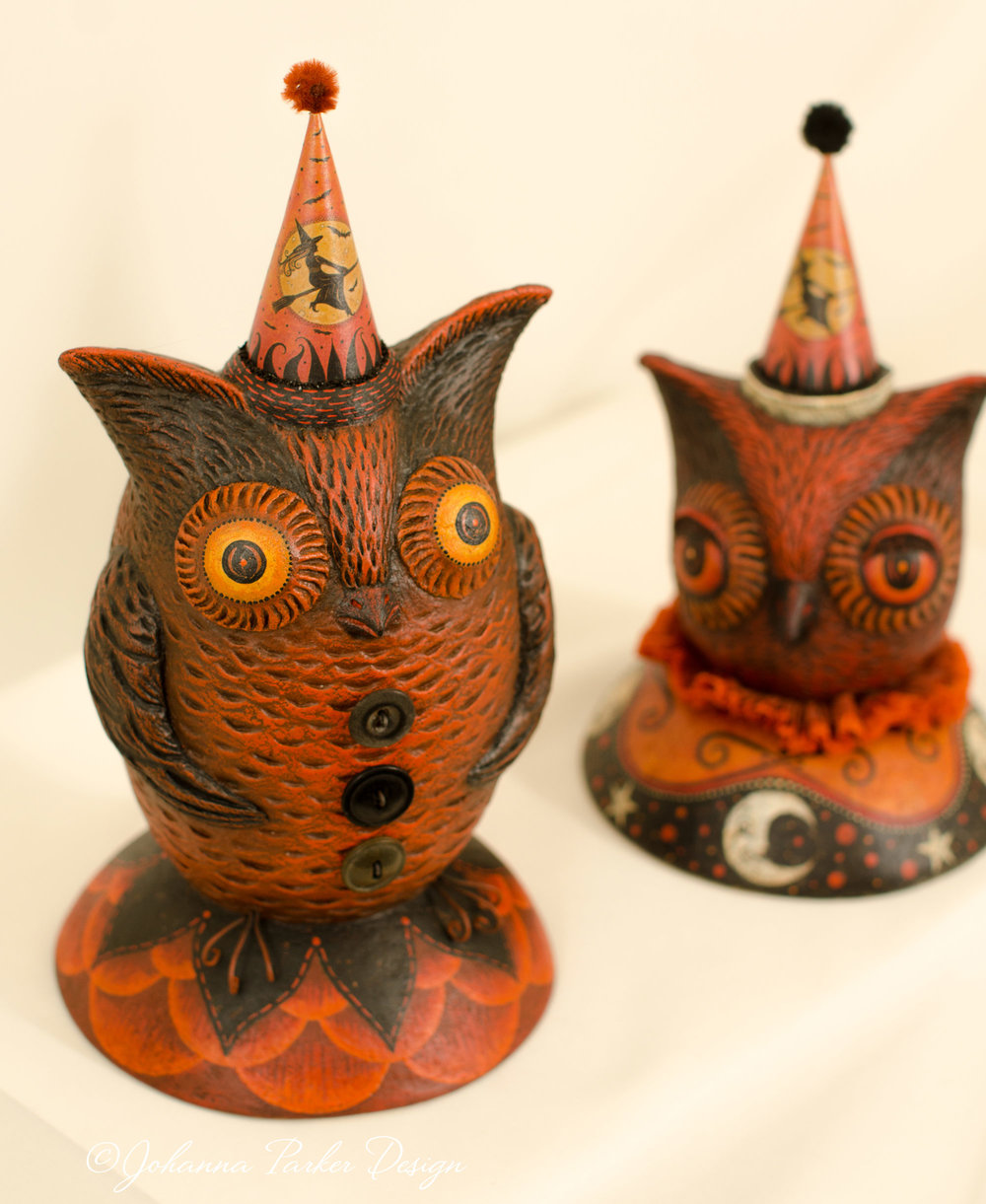 Halloween owl sculptures