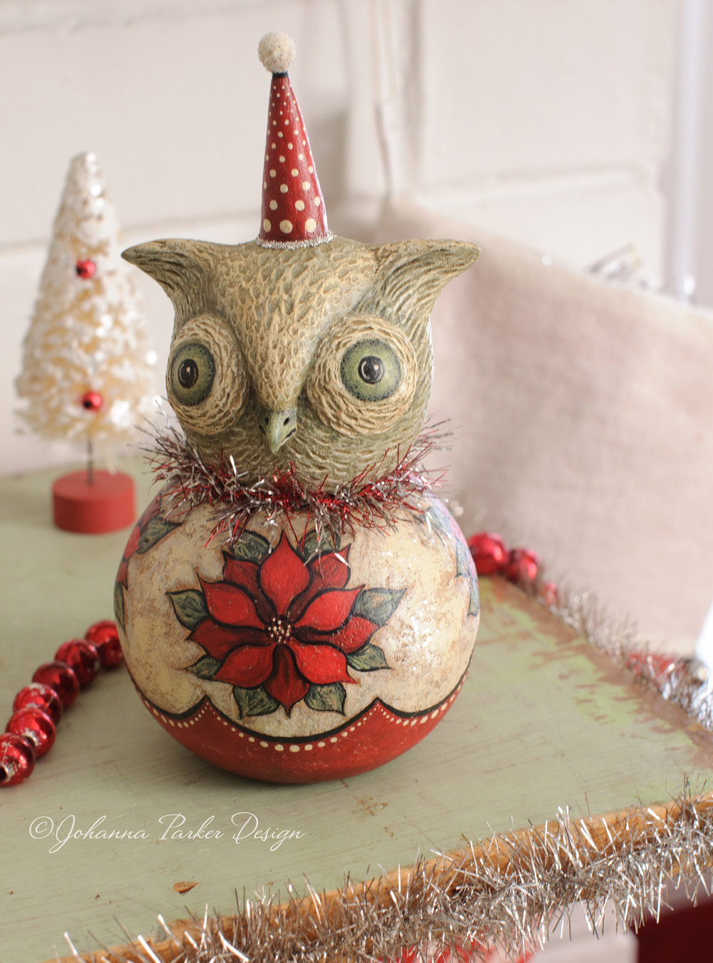 Poinsettia winter owl