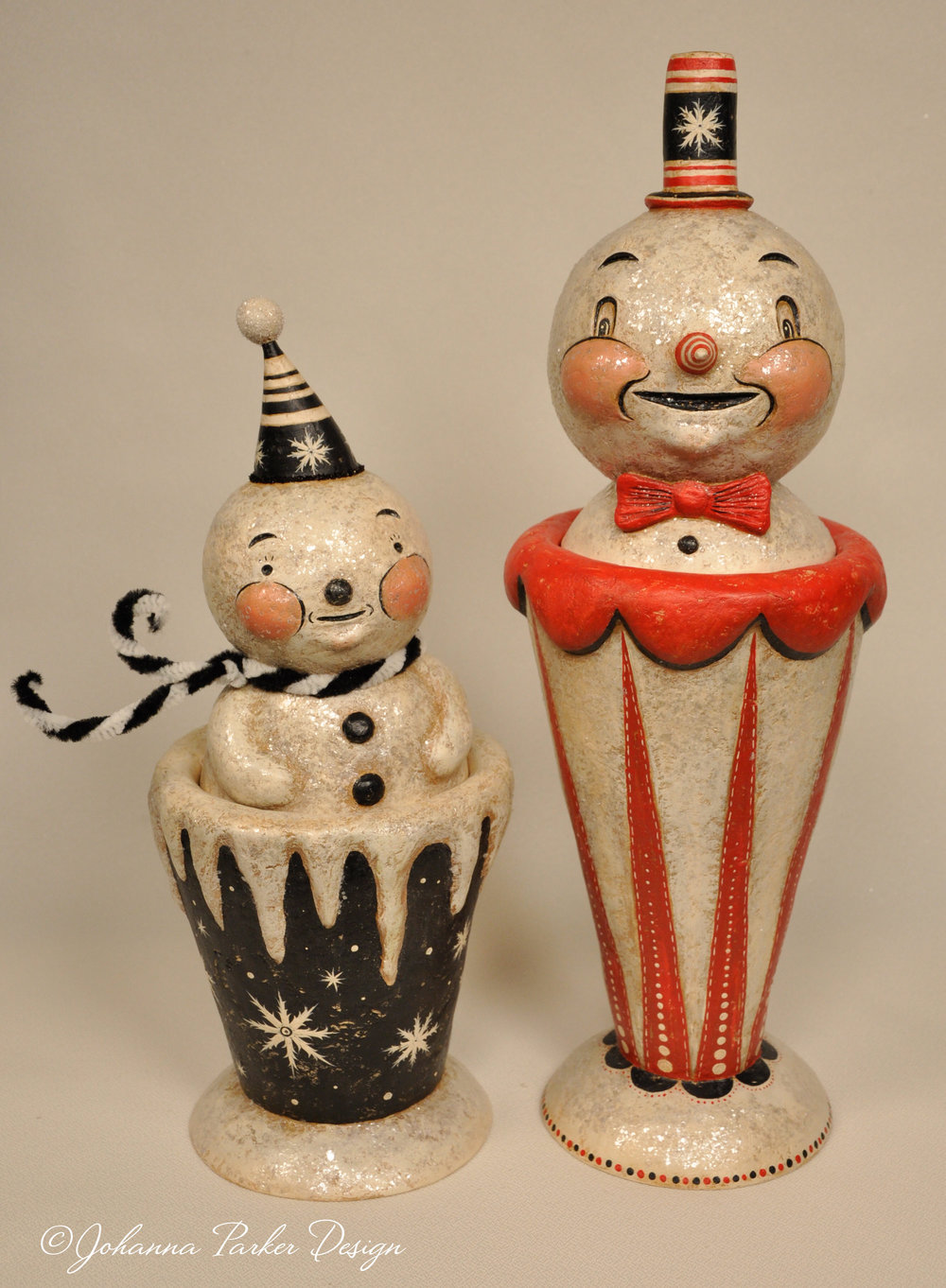 Snowman candy container duo