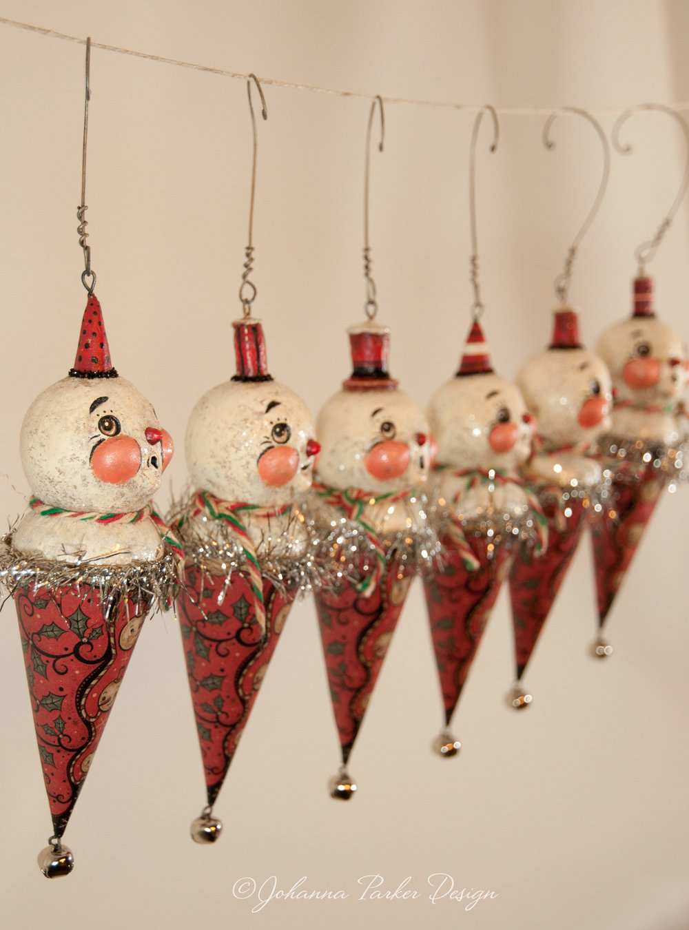 Snowmen jingle cone ornaments