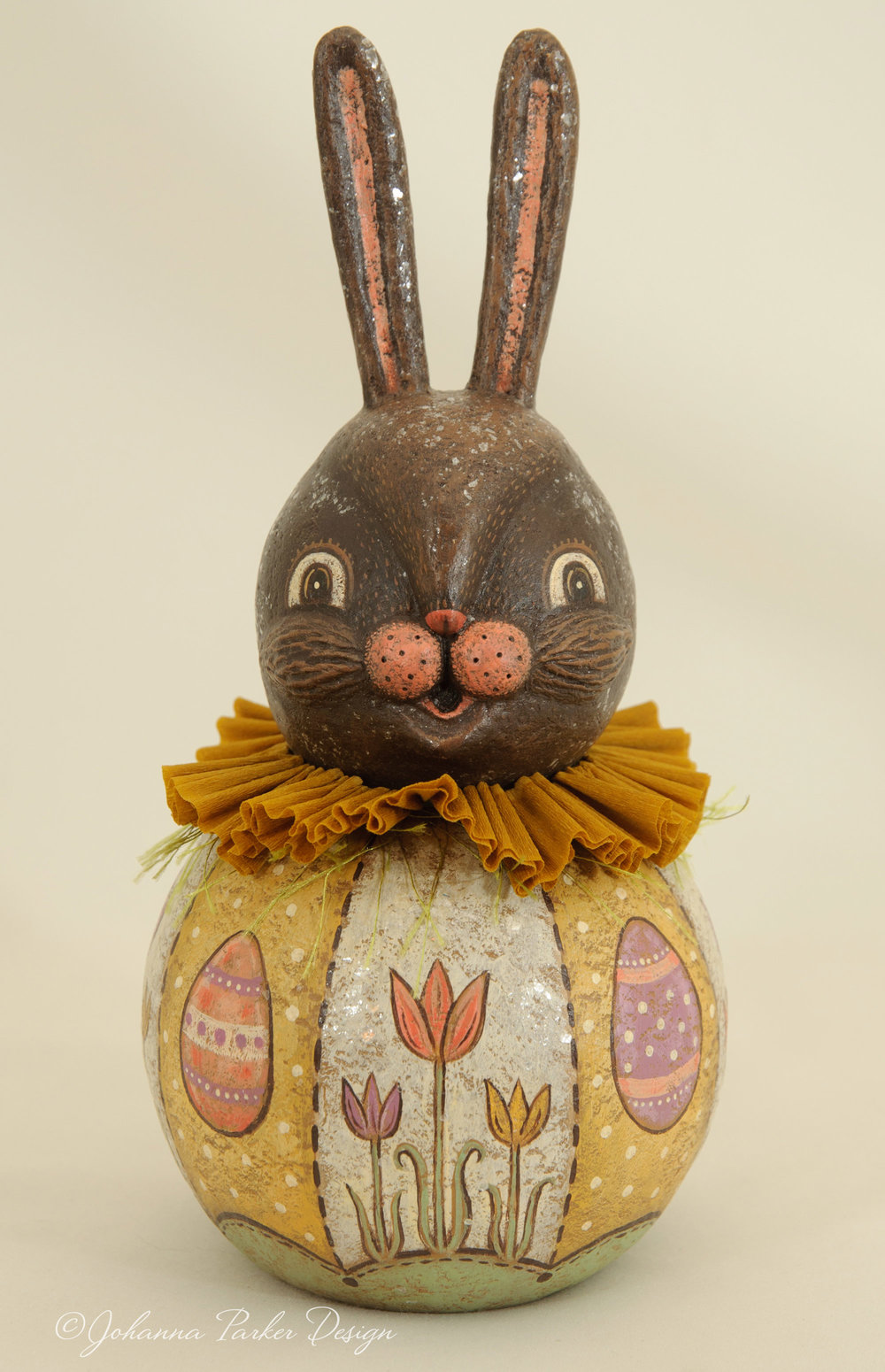 Yellow egg & tulip chocolate bunny