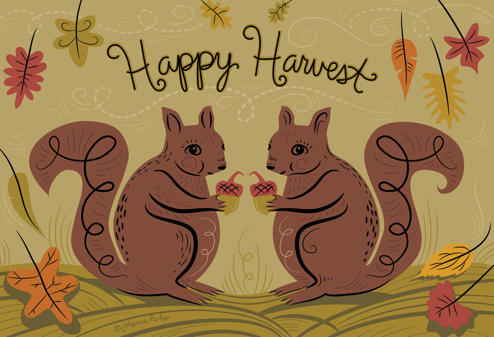 Happy harvest squirrels