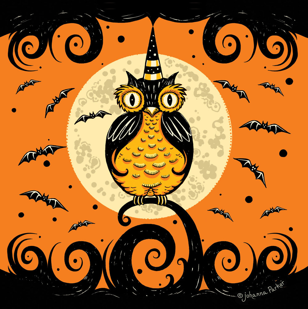Full moon Halloween owl