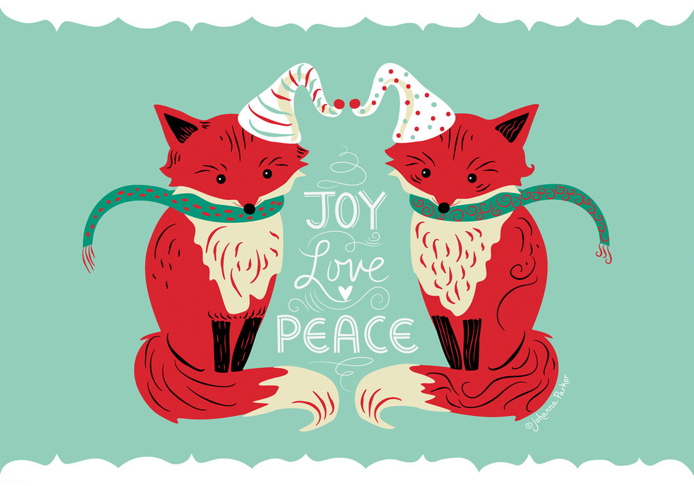 Joy love peace fox pair