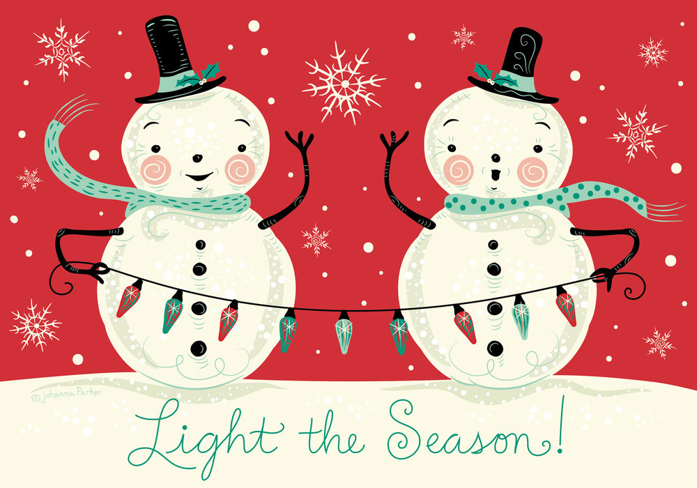 Light the season snowmen