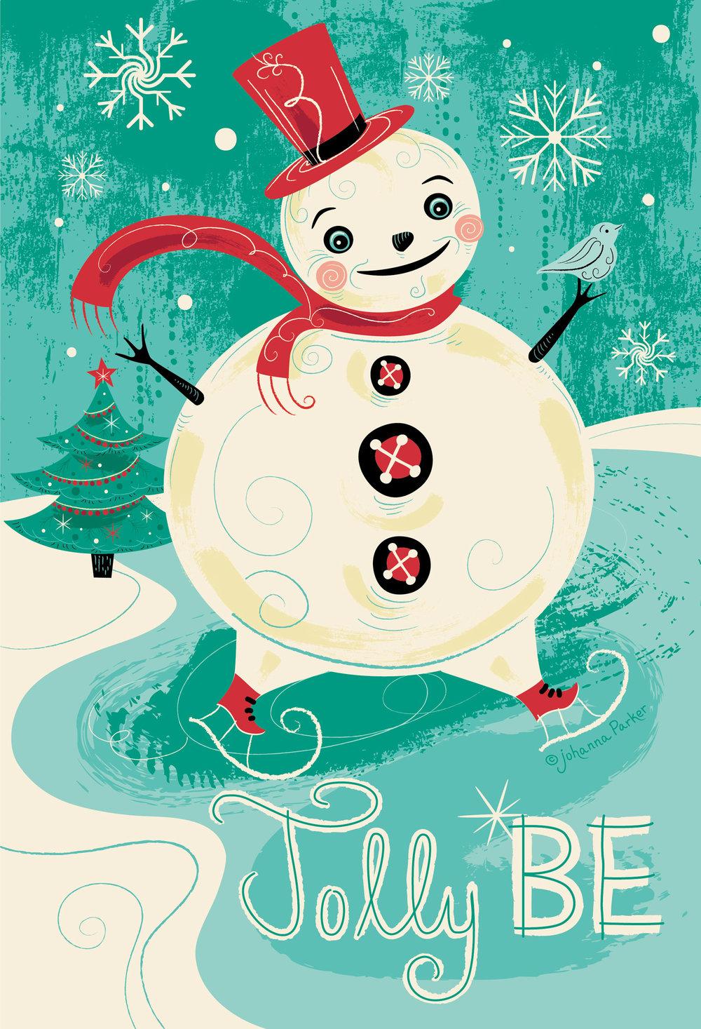 Jolly be skating snowman