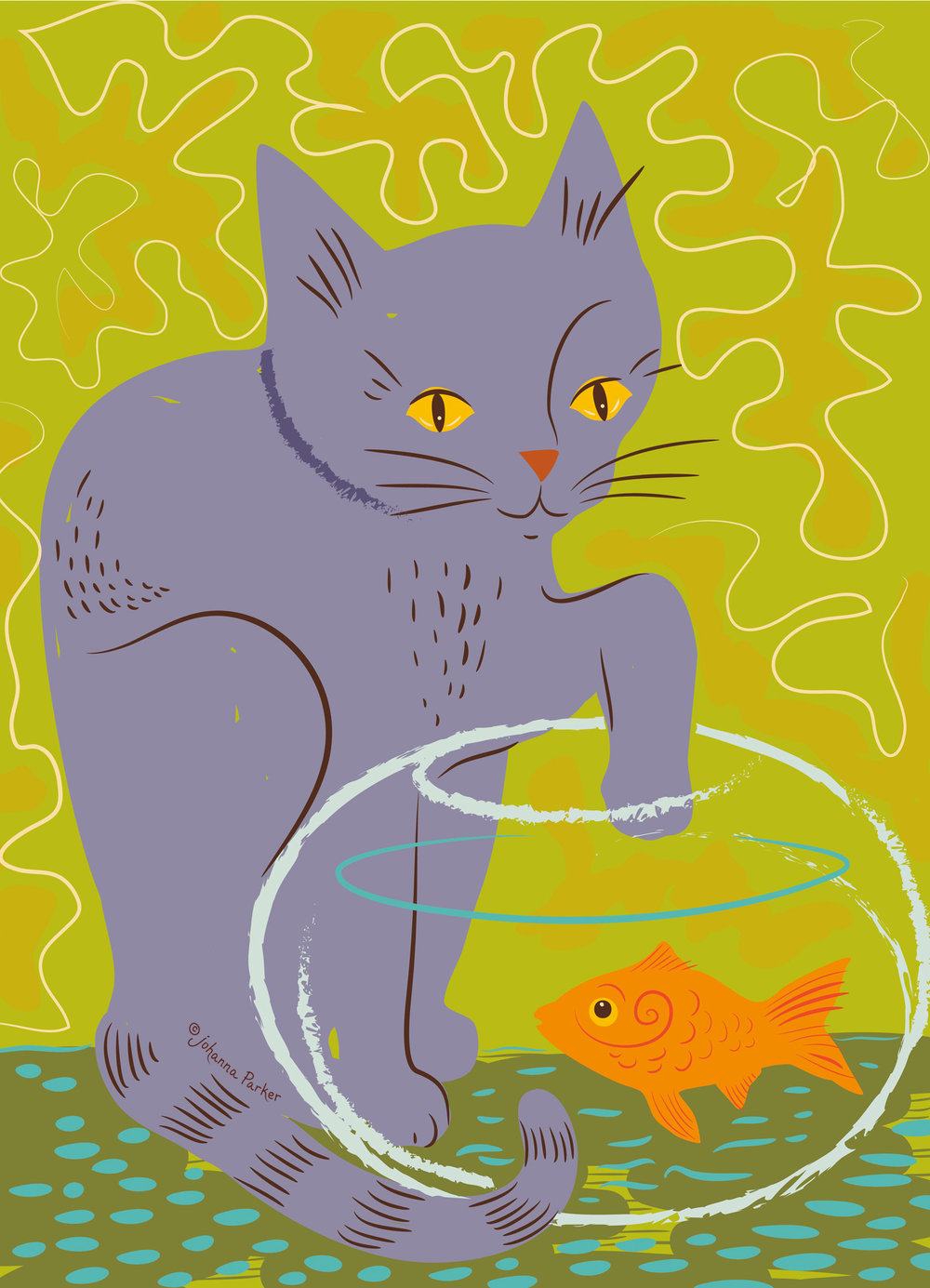 Mischievous purple cat & goldfish