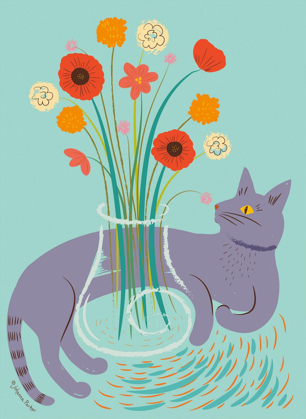 Mischievous purple cat & vase