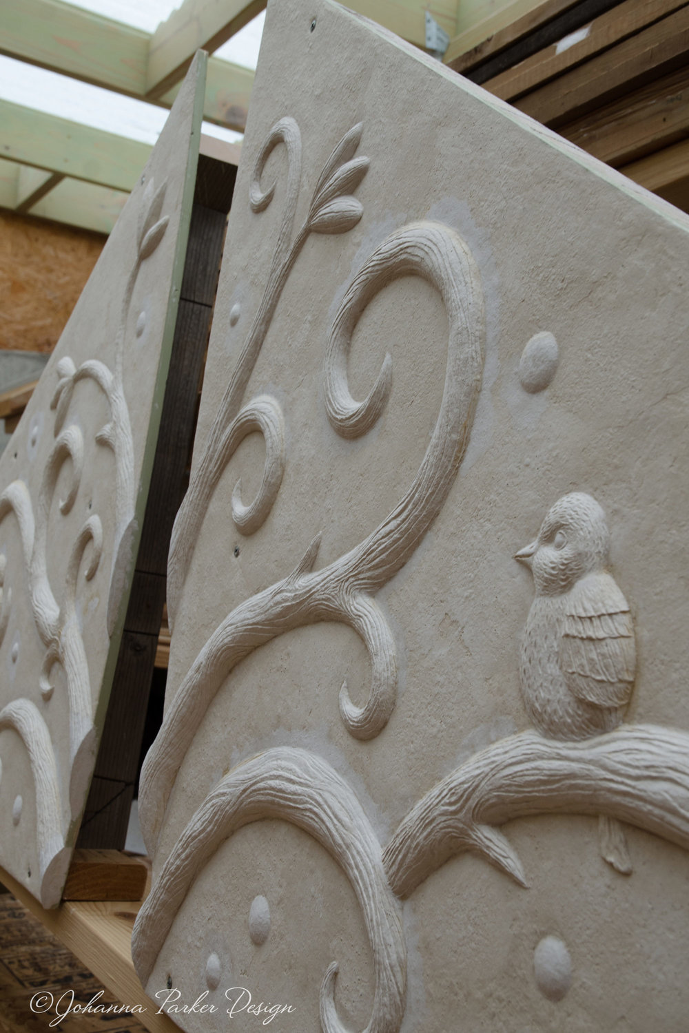 Vine and bird gable sculpt WIP