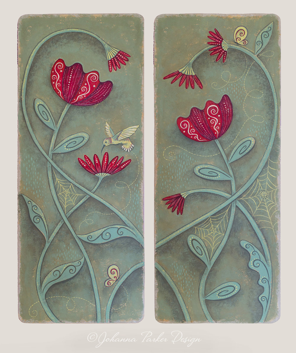 Hummingbird & tulip panels
