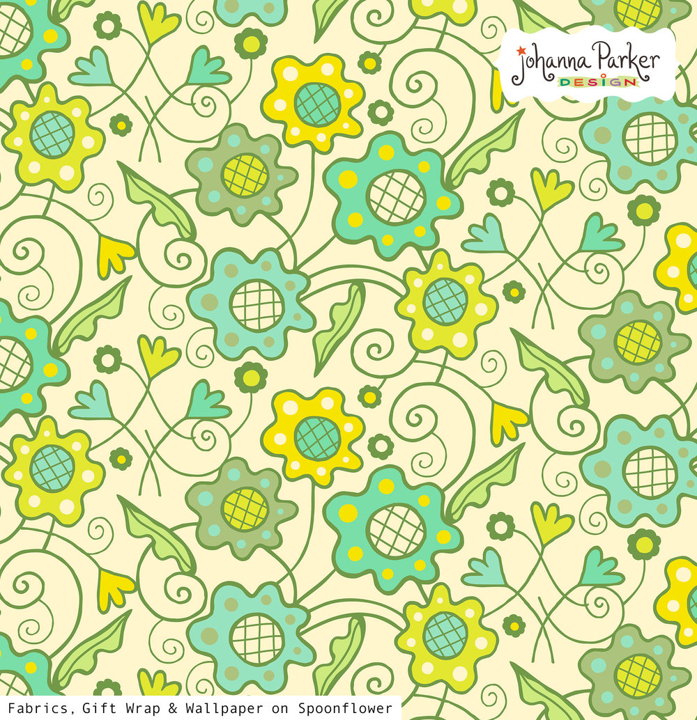 Flower patch yellow green