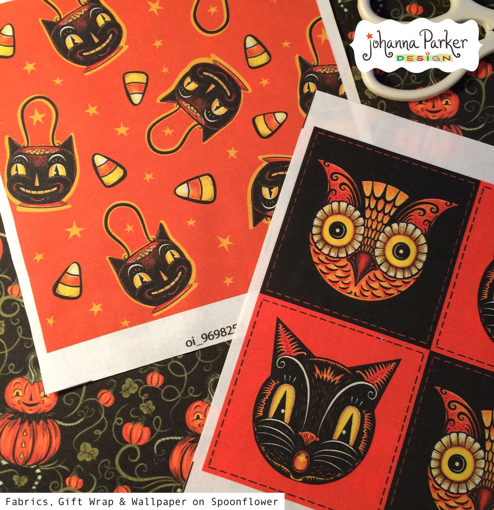 Halloween fabric swatches