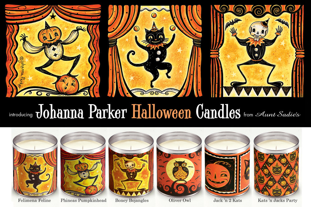 Illustrations for wrapped candles ~ Aunt Sadie's Candles