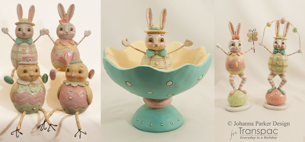 Spring Easter Bunnies & Chick Sitters, Candy Bowl & Figurines ~ Transpac Imports, Inc.