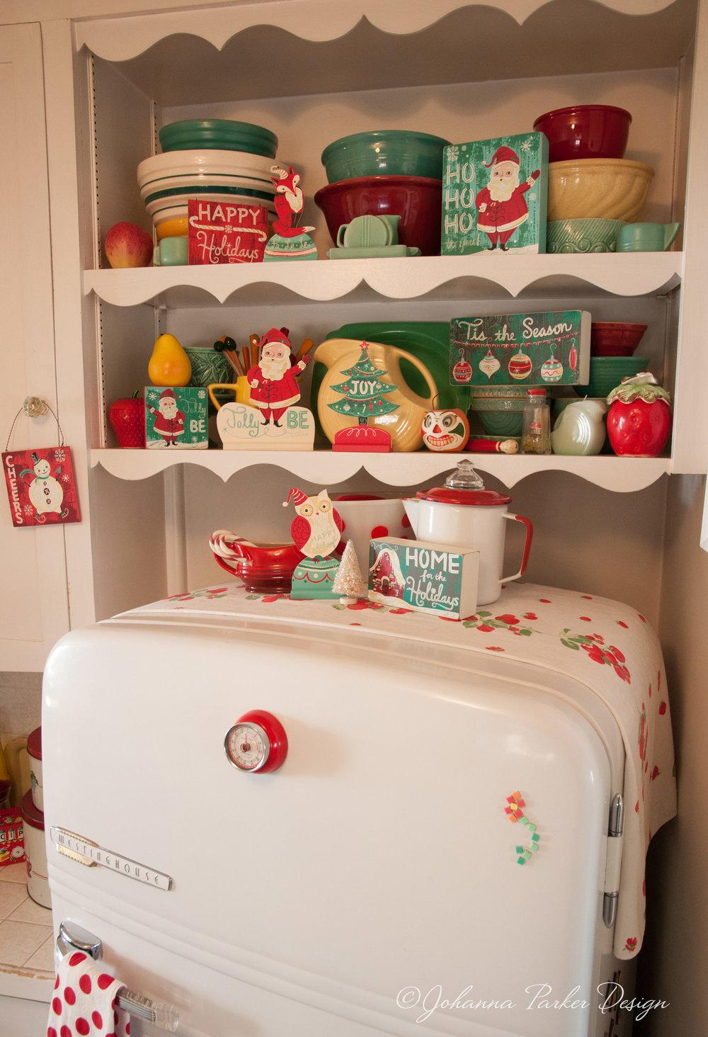 Vintage round top fridge for Christmas