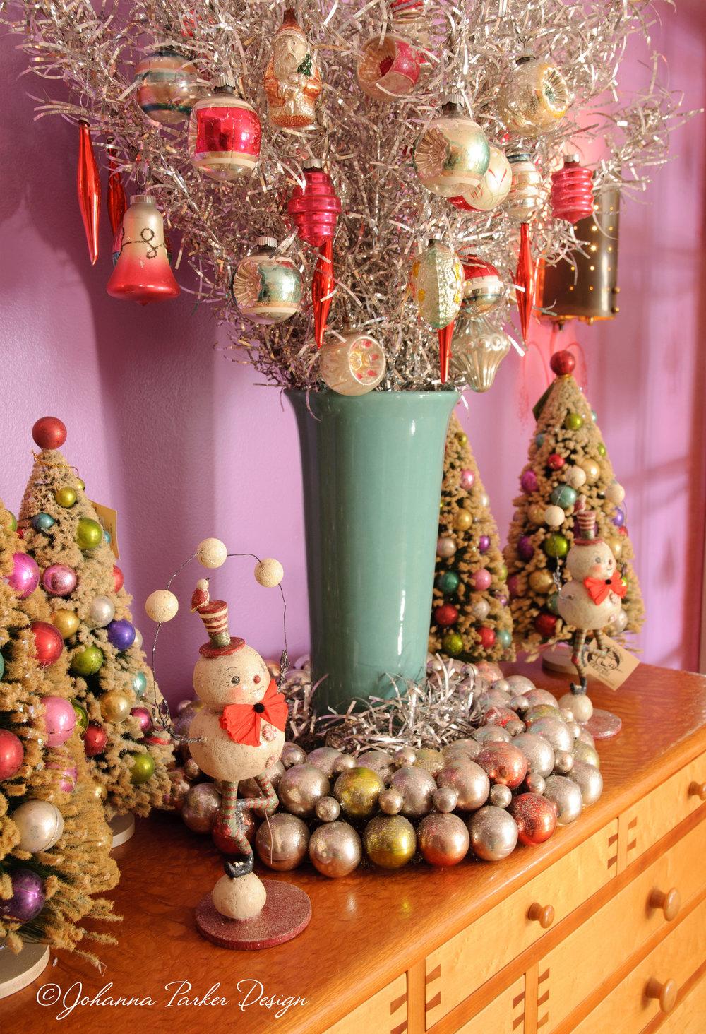 Vintage Christmas baubles in vase