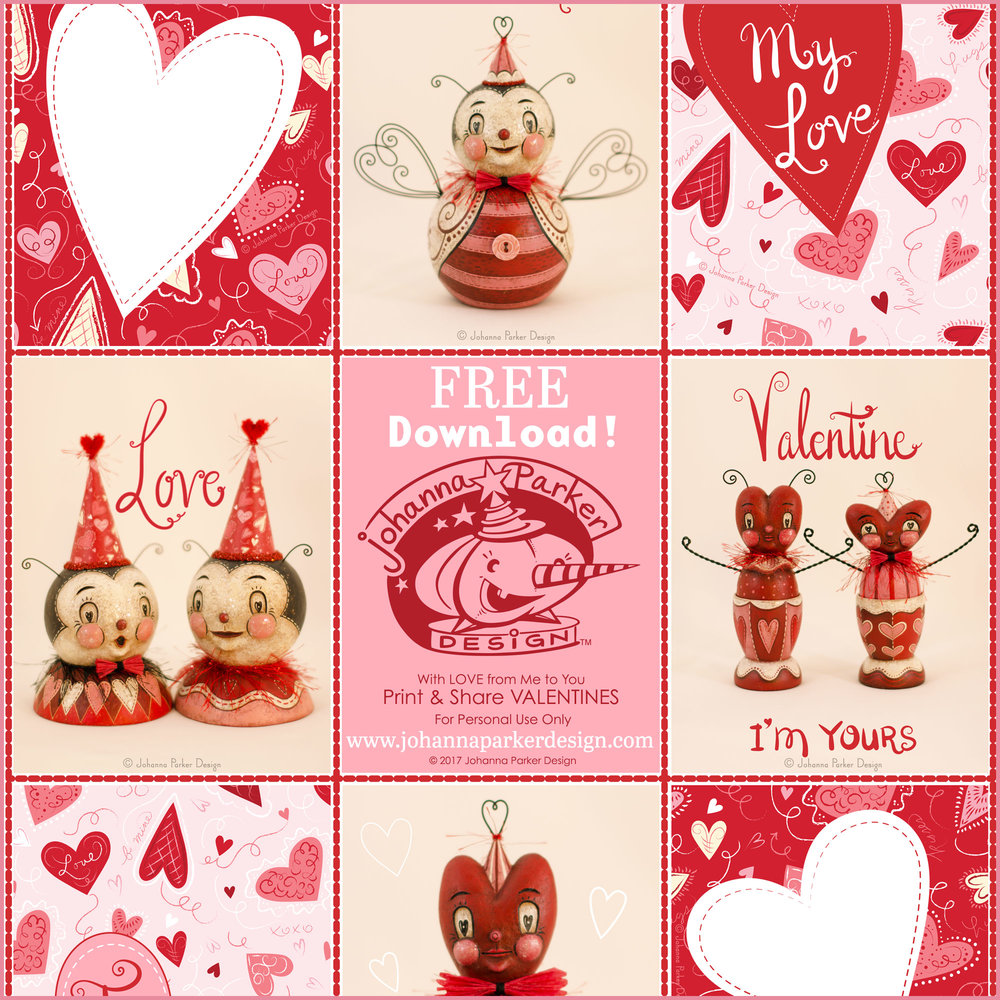 Valentines featuring Johanna Parker's folk art originals & whimsical heart designs...