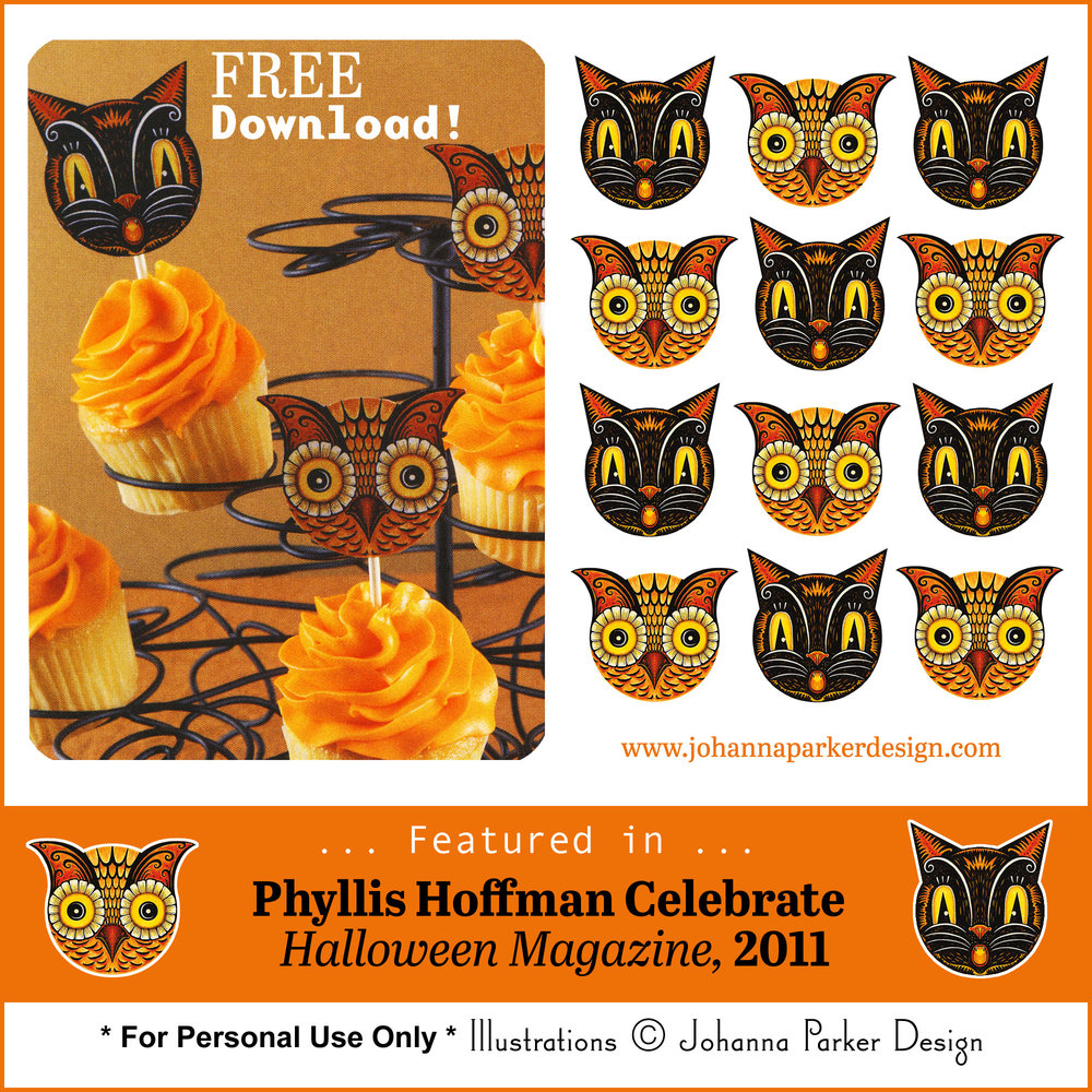 Spooky black cat and owl faces, great for cupcake picks, tags, ornaments, etc...