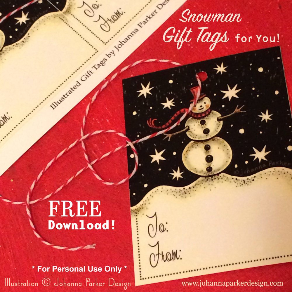 Stacked snowman illustrated gift tag for your holiday packages and gift giving...