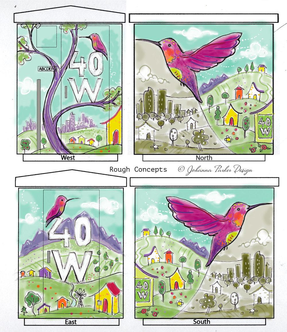 Buzzing with Color Hummingbird sketch RTD Lamar