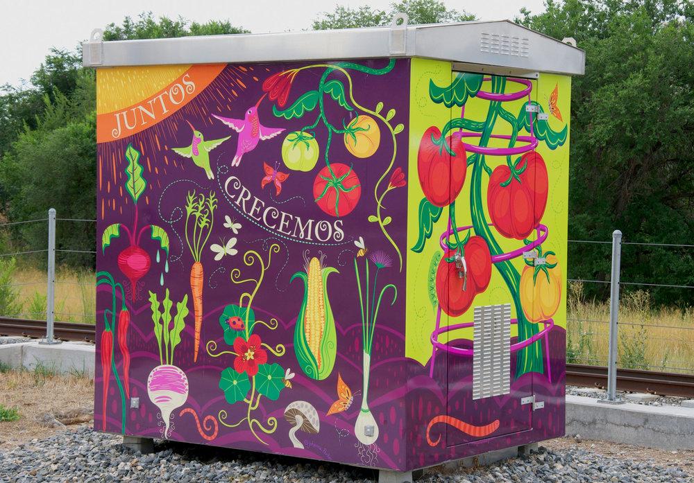 """Together We Grow"" - Mountair Park - 13th & Depew @ Eaton RTD utility box wrap - Lakewood, Colorado"