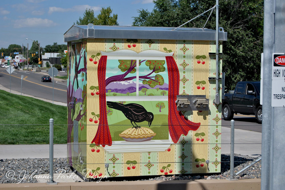 """Cherry Collector""  - James J. Richey Park - 13th & Carr RTD utility box wrap - Lakewood, Colorado"