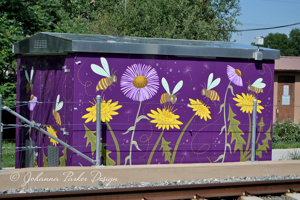 """Bee Safe""  - James J. Richey Park - 13th & Dudley RTD utility box wrap - Lakewood, Colorado"