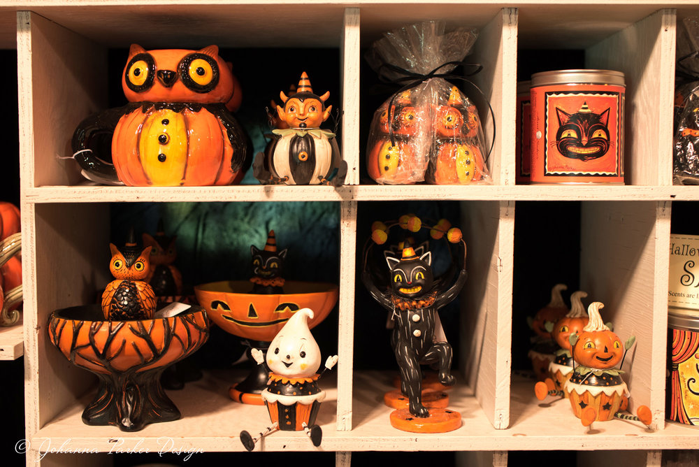 Cubbies were lined with Halloween mugs, candy stands, shelf sitters, candles & other delights...