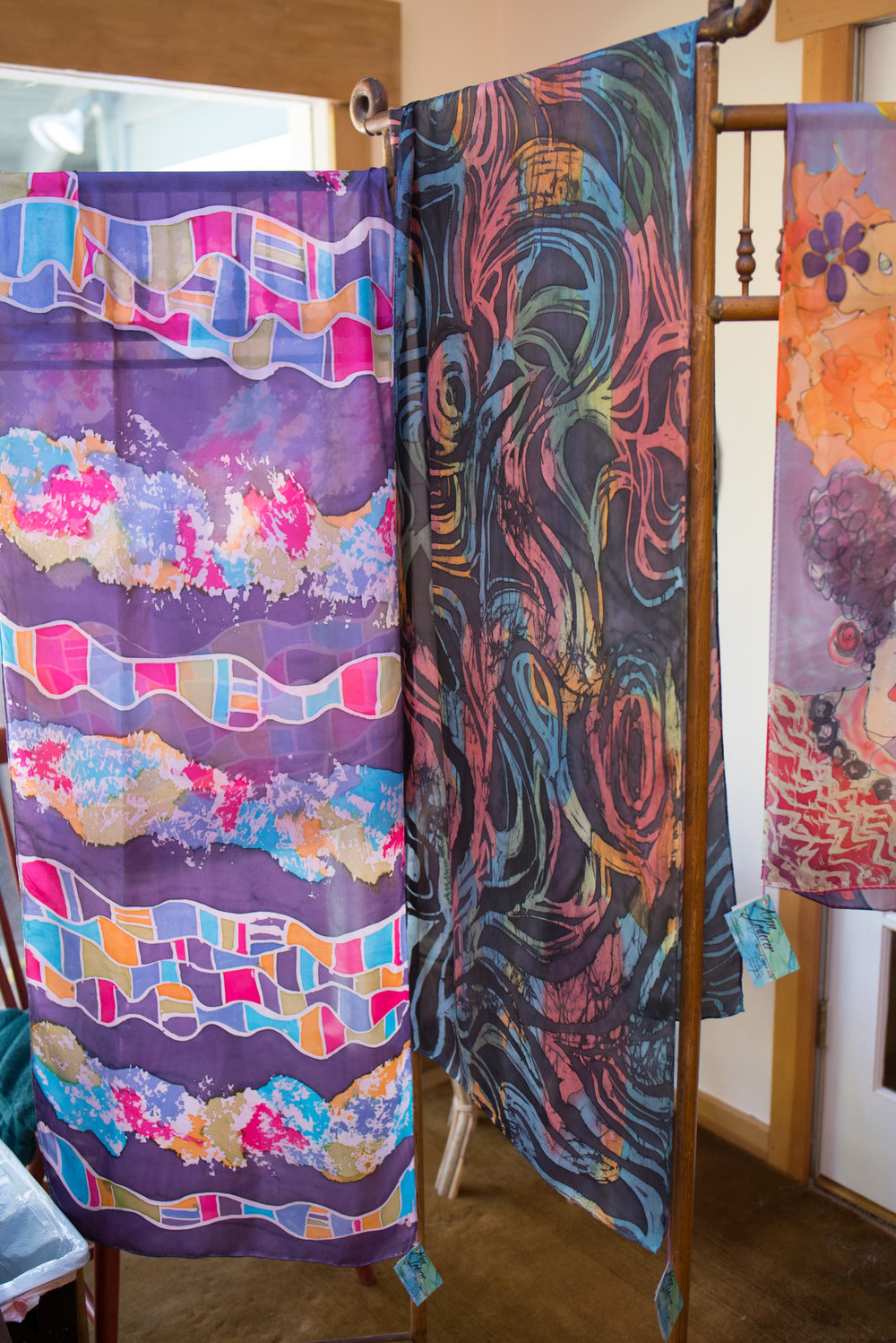 More captivating hand-painted silk scarves by Ann Lederer greeted guests upon entering her space...