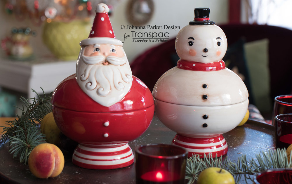 Santa & Snowman Candy Dishes ~ Transpac Imports, Inc.