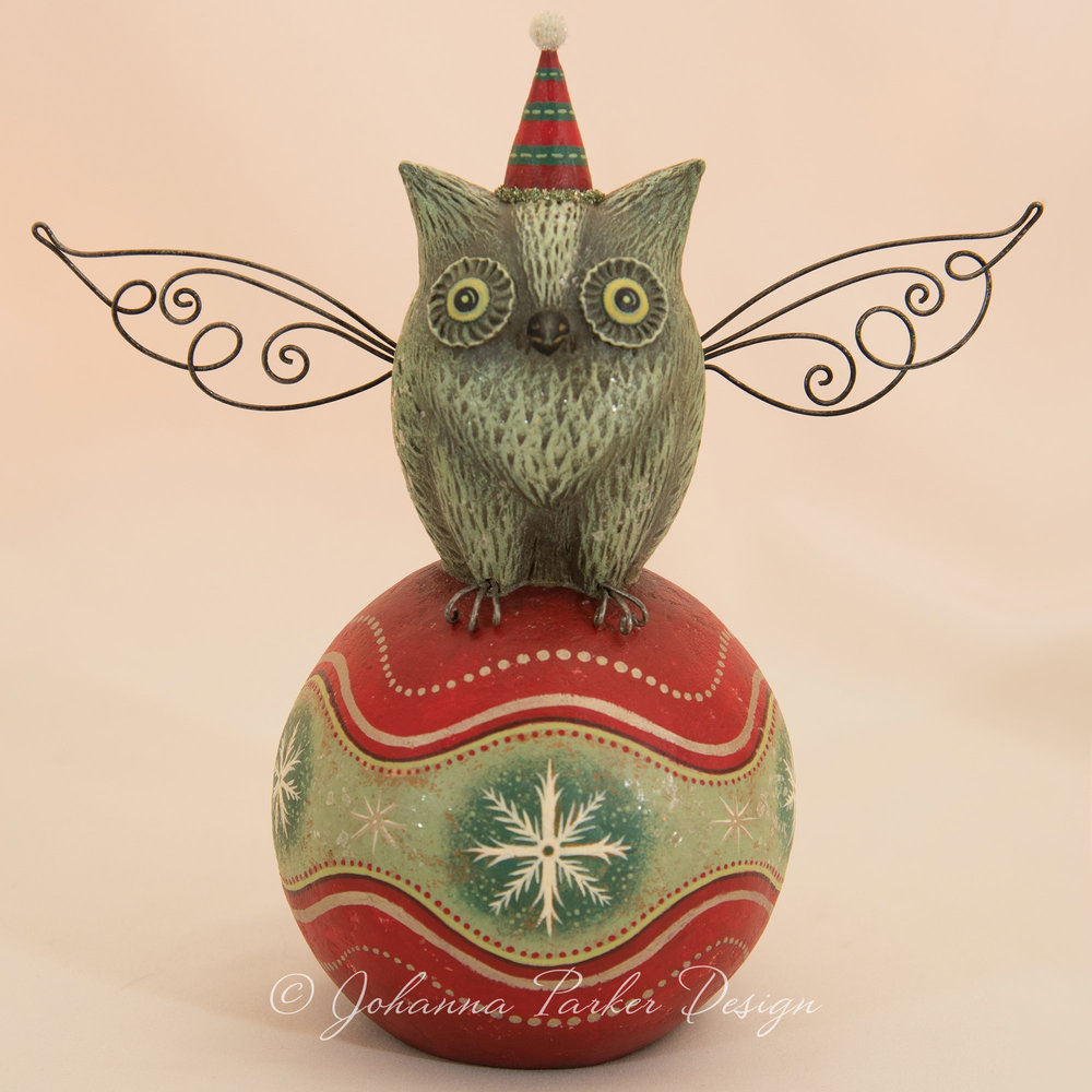 Holiday Perched Folk Art Owl