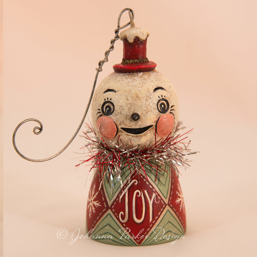 JOY Snowman Bell Ornament