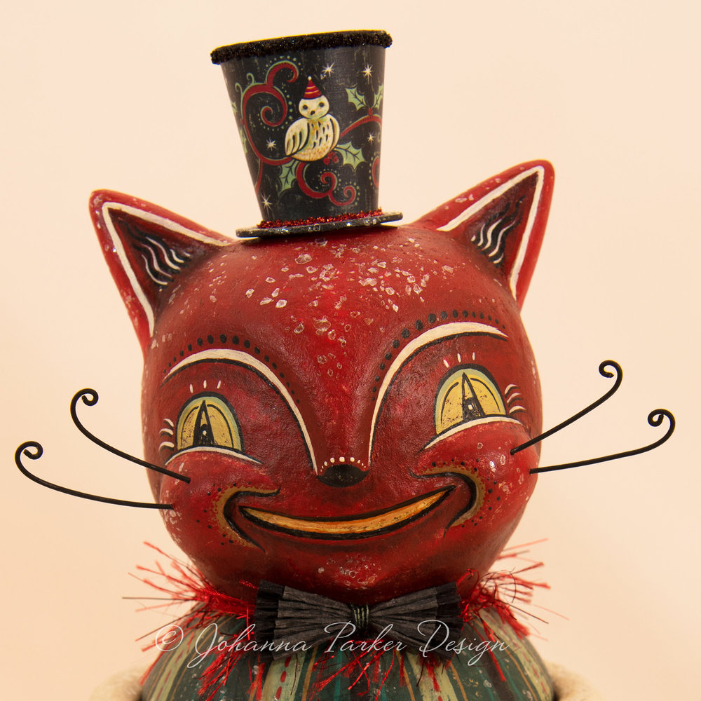 Christmas Red Folk Art Cat