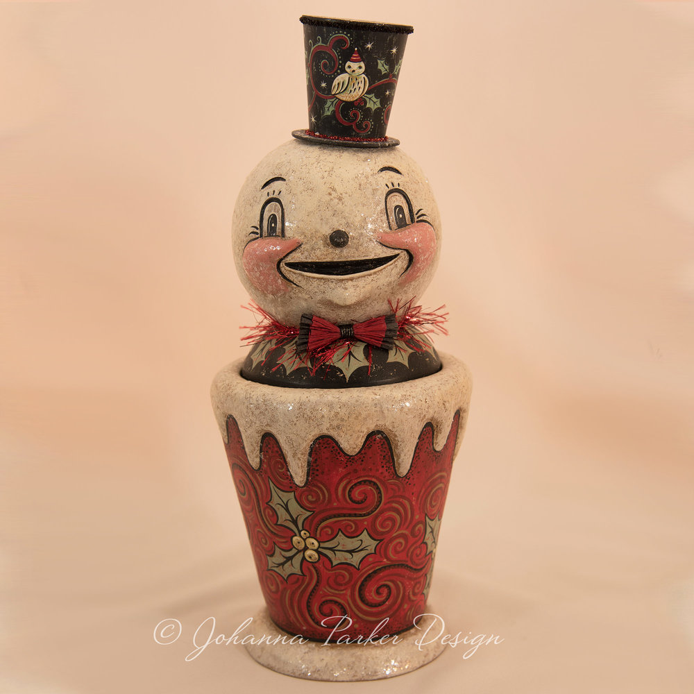 Jolly Snowman Candy Container