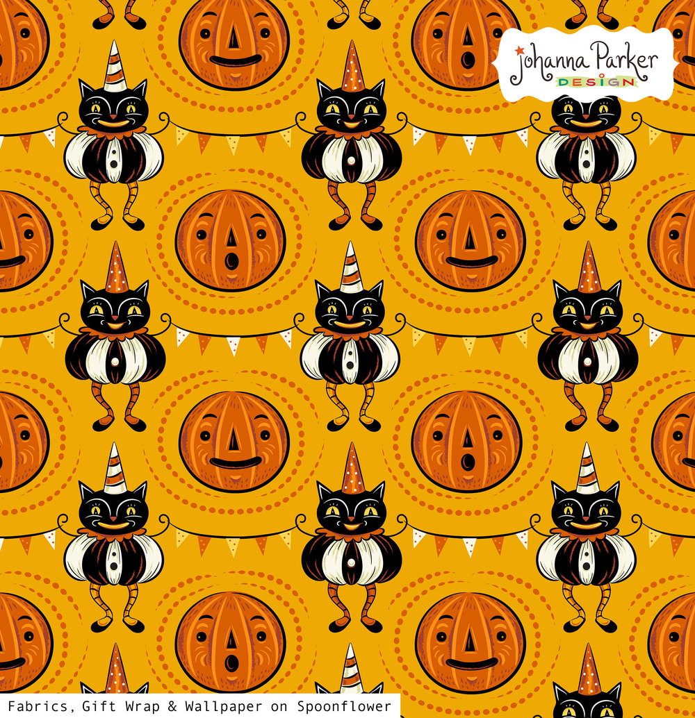 Johanna Parker Halloween Cats & Pennants