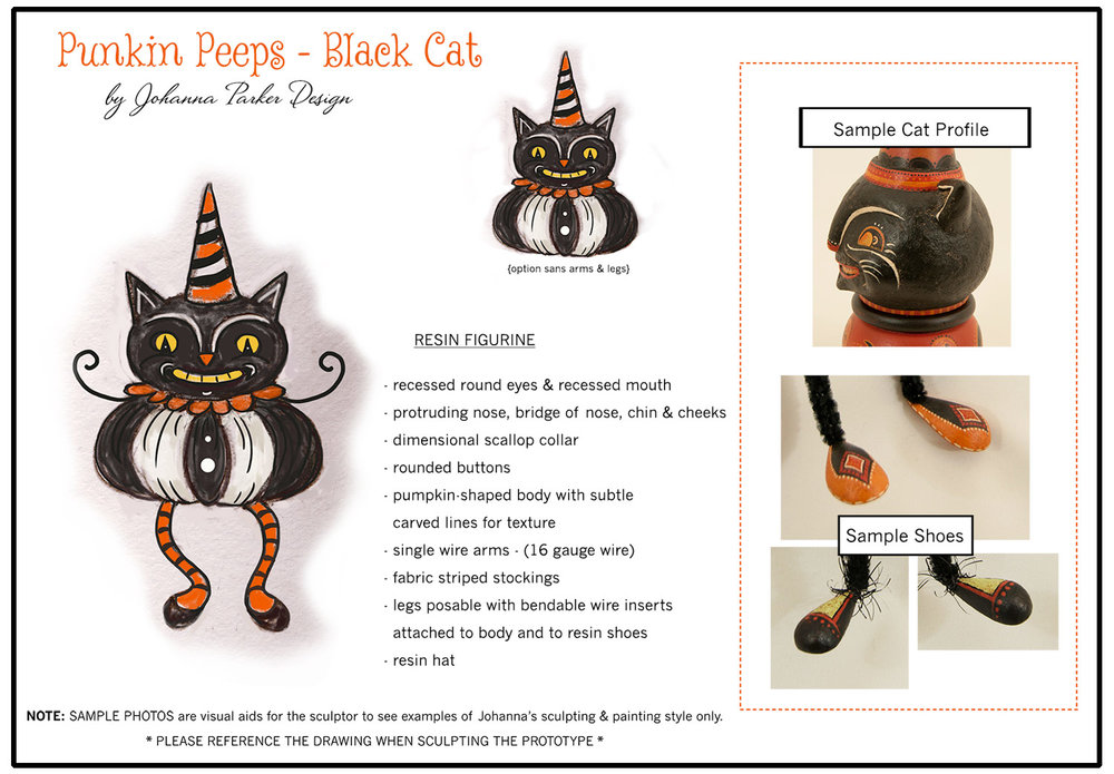 "Initial artwork for my black cat ""Punkin Peep"" shelf sitter... It was from this guy that the black cat mug was inspired and developed a year later."