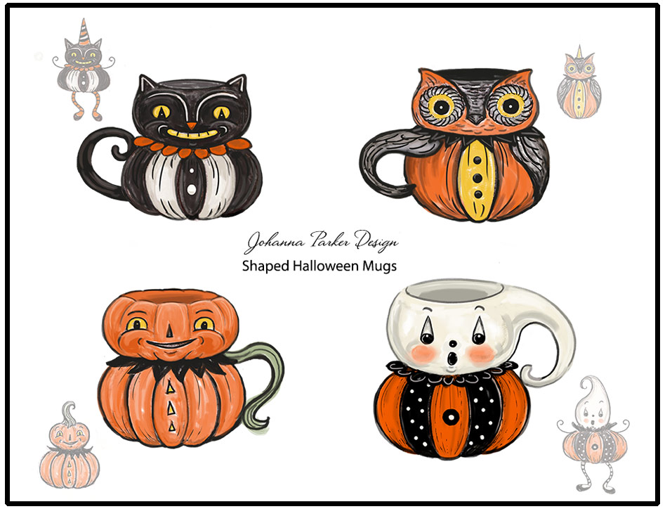 "Here is an example of where I expanded upon certain products to create supporting designs. In year 2, I was asked to build a group of shaped character mugs, inspired by the popularity of  my Punkin Peep sitters. I will focus on the black cat mug in particular to express the process of this product's evolution. I submitted the above illustration to the sculptors at Transpac's ceramic factory. (The mug art was created in Photoshop using various brushes atop existing scans - it must have been late a night for this one.. ~wink~ Oh, and JP calls it ""Frankensteining"" when I do this, especially when I cut the head off of one piece and add it the body of another, tweaking the features as I go!....)"