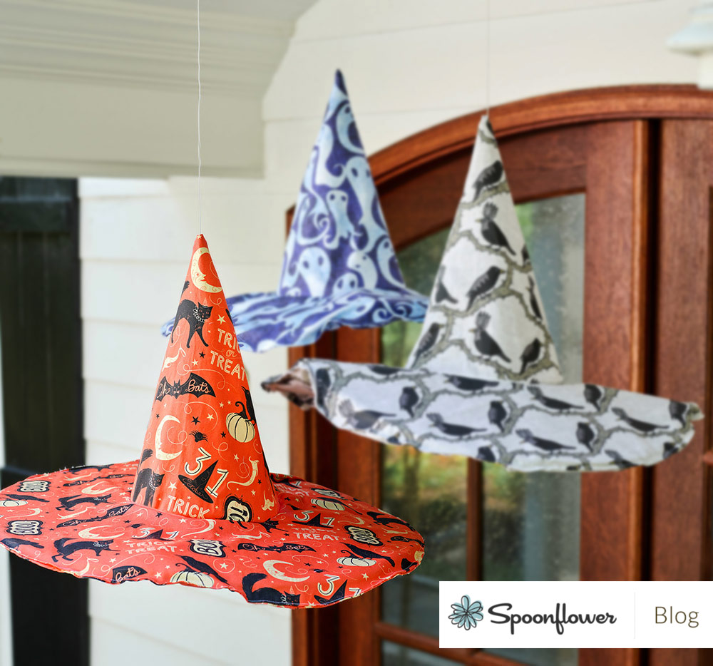 Featured on Spoonflower's Blog, see how to make a spooky cool fabric witch hat, using Johanna's   Vintage Halloween Trick or Treat Boo   print!