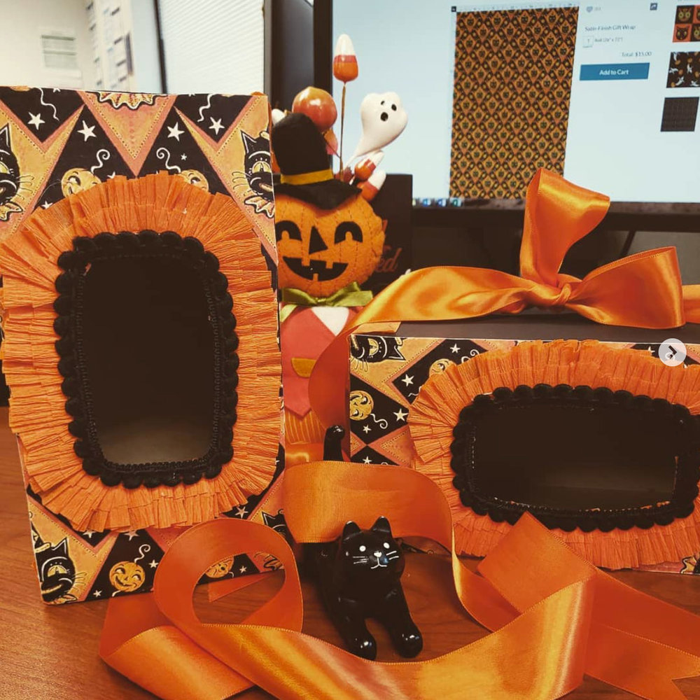 Paper craft covered box games, handmade by @jaru1789 (on Instagram) using Johanna Parker Halloween wrapping paper from Spoonflower.  GET: Grinning Black Cat & Jacks  & choose Wallpaper.