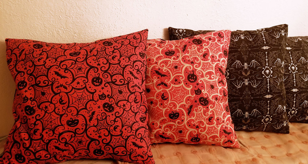 "Handmade Halloween pillows by @sea_witch_27 (on Instagram) using Johanna Parker Halloween fabric from Spoonflower.  VIEW ALL: ""Halloween by Johanna Parker"""