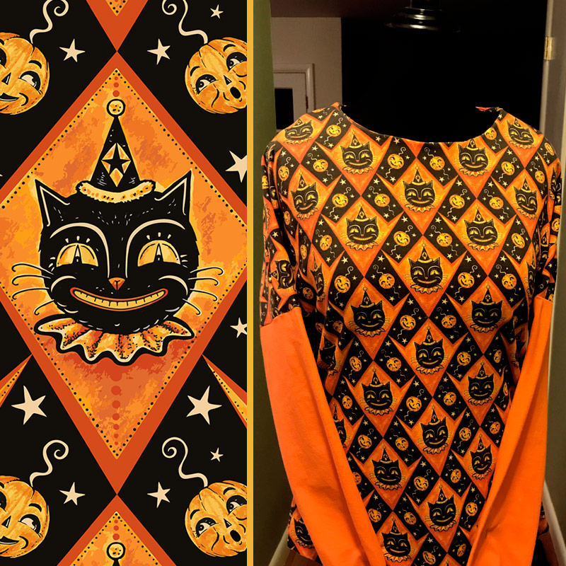 "Halloween shirt sewn by Donna Davies @HallowStyle (on Instagram) using Johanna Parker Halloween fabric from Spoonflower.  GET: ""Grinning Black Cat & Jacks"""