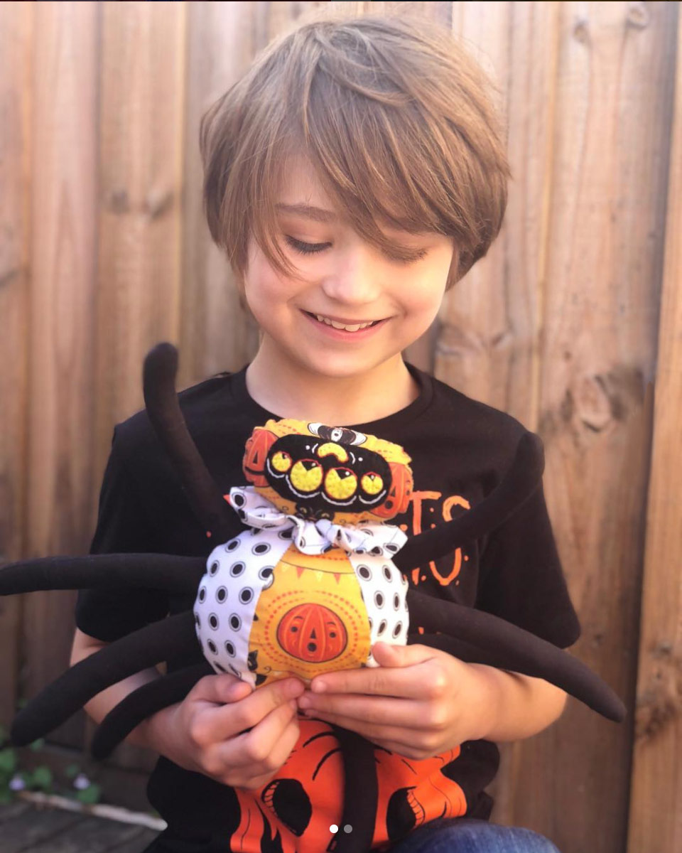 "Handmade spider plushie by @elliottsplayground (on Instagram) using a portion of Johanna Parker Design Halloween fabric from Spoonflower.  GET: ""Halloween Cats and Pennants"""