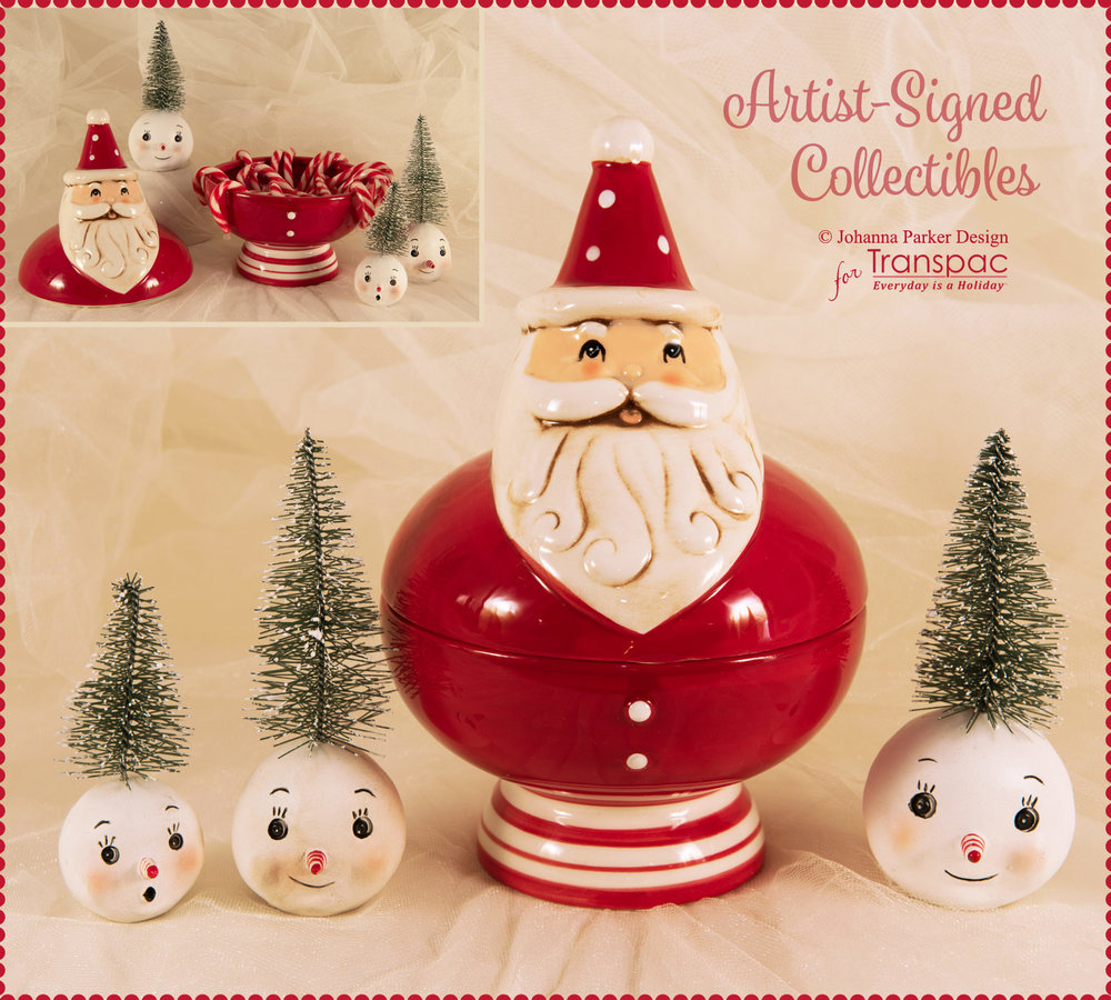 """Ho Ho Santa Snow Set"" ~ All pieces are from Johanna's new line of Christmas collectibles, manufactured by Transpac Imports. Each is hand-painted and may have slight imperfections due to the nature of the material and/or glazing process. Each Collectible is Signed."