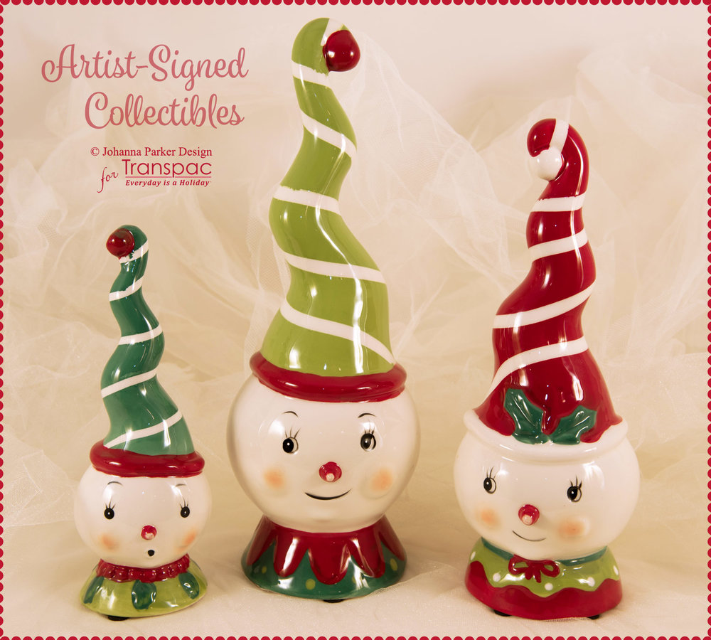"""Snowy Spiral Trio"" ~ All pieces are from Johanna's new line of Christmas collectibles, manufactured by Transpac Imports. Each is hand-painted and may have slight imperfections due to the nature of the glazing process and paint application. Each Collectible is Signed."