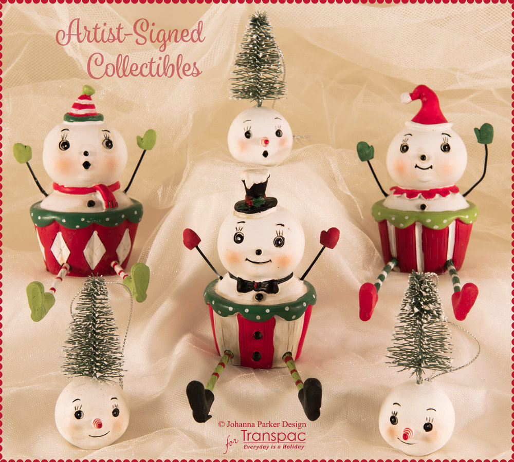 """Cupcakes & Flakes Set"" ~ All pieces are from Johanna's new line of Christmas collectibles, manufactured by Transpac Imports. Each is hand-painted and may have slight imperfections due to the nature of the material, paint and molding process. Each Collectible is Signed."