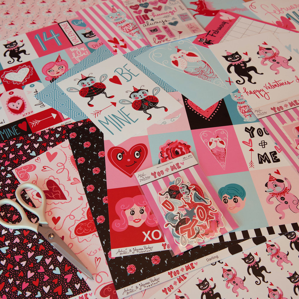 YOU + ME Valentine's Stickers & Scrapbooking Papers