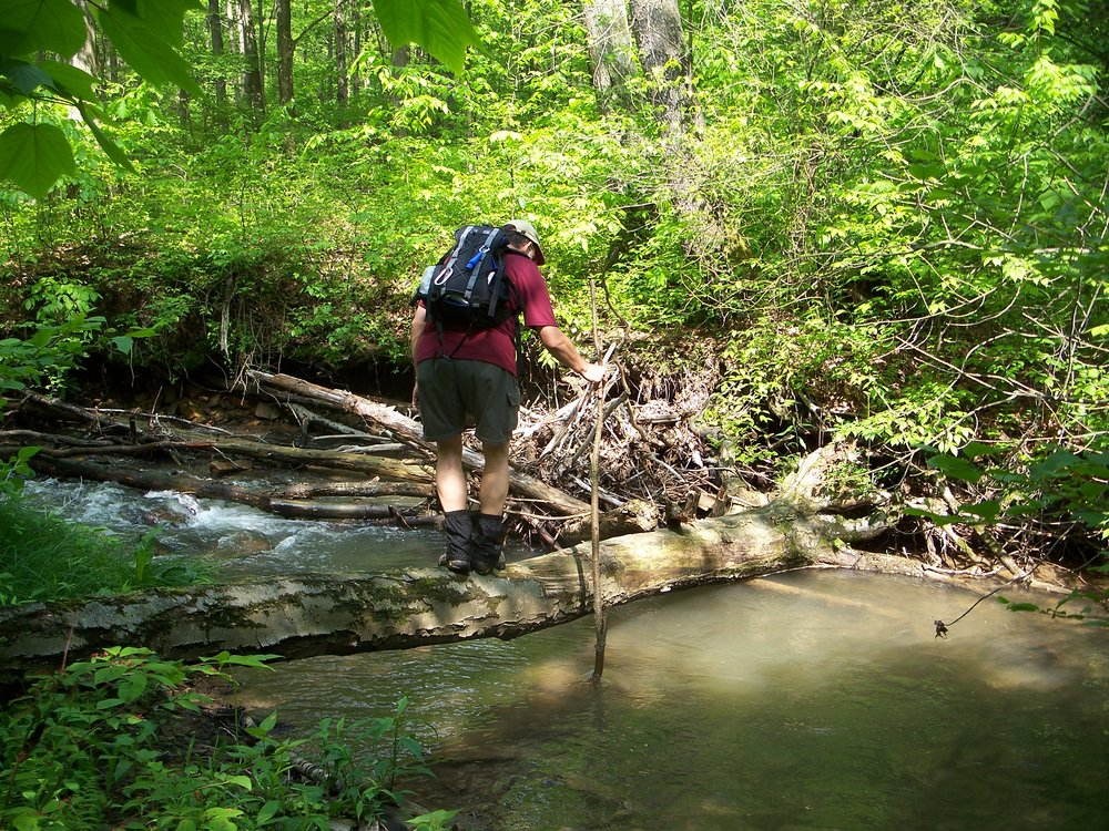Hiker crosses  Tributary of Ragtavern Run.jpg
