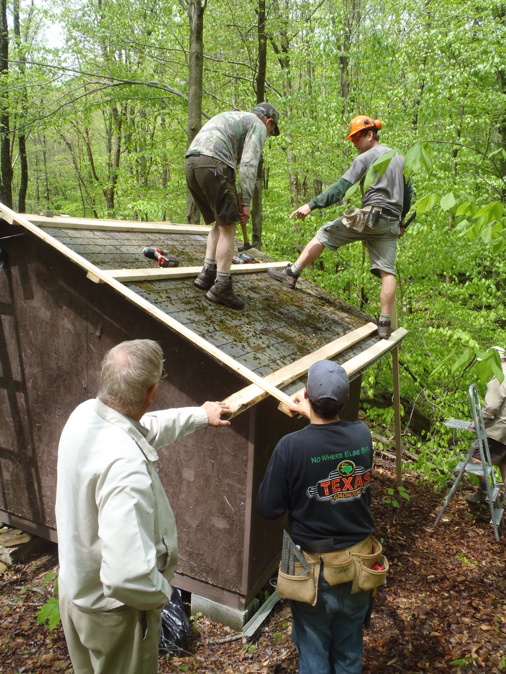 Lantz Ridge shelter roof during replacement