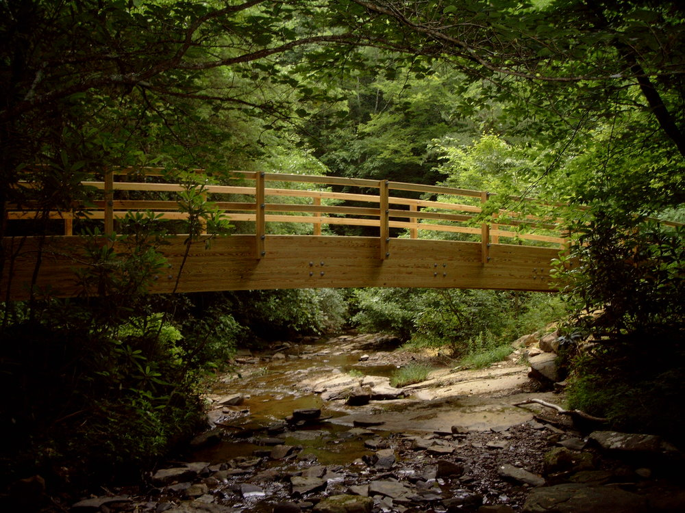 The bridge over Laurel Run soon after it was constructed - By Doug Wood