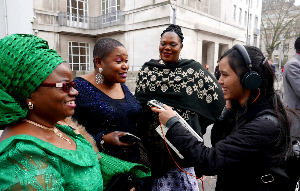 Talking to members of London's Nigerian Community during His Imperial Majesty, Ooni of Ife's visit to SOAS, as part of Presenting World Music on Radio module. Photo courtesy of   Dr Lucy Duran.